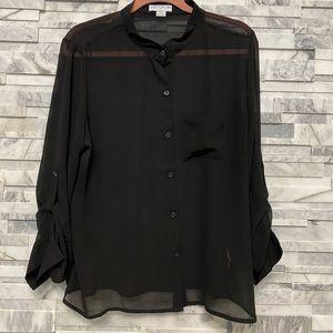 Cotton on black button down shirt